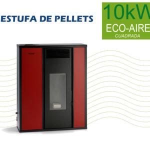 Estufa de Pellets 10kW Eco-Aire Cuadrada