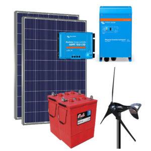 Kit Híbrido Solar Eólico 3000Wh/dia