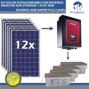 Kit Solar de Autoconsumo con Baterías ISS 1Play 3kW – 2.5kWh